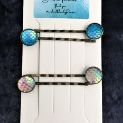 Pretty Dragon / Mermaid Scale Bronze Hair Pins / Bobby Pins – suits most hair types (Sold as the panel pictured)