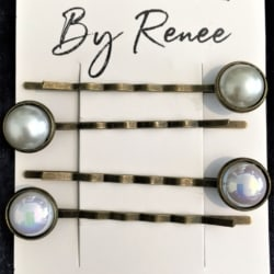 Pretty Pearl Bronze Hair Pins / Bobby Pins – suits most hair types (Sold as the panel pictured)