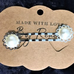Elegant Filigree Ivory Faux Pearl Hair Pins – Silver – suits most hair types (sold in pairs)