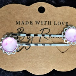 Elegant Filigree Pink Watercolour Hair Pins – Silver – suits most hair types (sold in pairs)