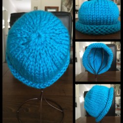 Super Warm Hand Knitted Turquoise Blue Roll Brim Hat – 100% Acrylic – M/L