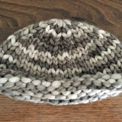 Super Warm Hand Knitted Earthy Tones Roll Brim Hat – Wool – Small Adult