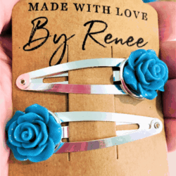 Pretty Turquoise Rose Hairclips – sold in pairs