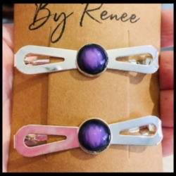 Pretty Bow Stone Style Hair Clips – 3 colours – sold in pairs (suits most hair types)