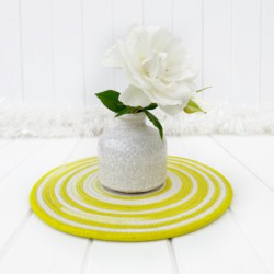 Absorbent coiled rope trivet, hand dyed chartreuse colour ombre beautiful table centrepiece