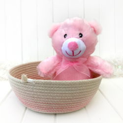Pink ombre stitched cotton coiled rope bowl, baby shower gift and ideal nursery storage solution, ready to ship