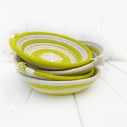 Chartreuse coloured ombre hand dyed ring dish made from coiled rope, ready to send