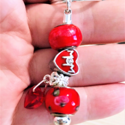 Pretty Mum Heart Mothers Day Keyring / Bag Clip – Red