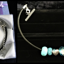 Mother's Day Theme Charm Bracelet – Leather – Blue – Gift Boxed