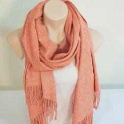 Wool Blend Scarf – Peach Marle