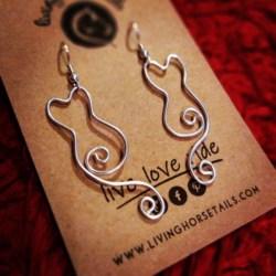 Sterling Silver Wire Cat Earrings