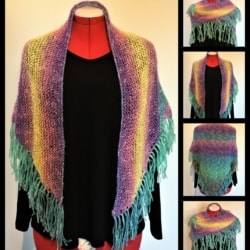 Soft Hand Knitted Rainbow Shawl #2 – Cotton and Acrylic Blend – Free Shipping