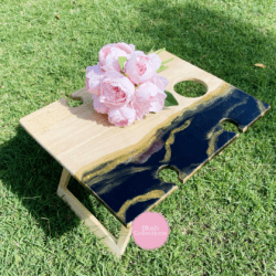 Picnic Table- Black and Gold