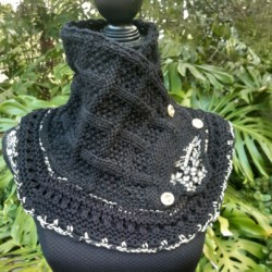 Handknitted Black wool cowl/collar . trimmed with gold