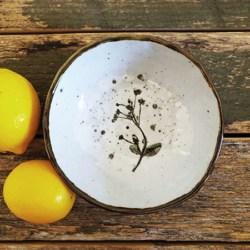 Handmade Ceramic Bowl with Handmade Mulburry paper packaging – Wild Flowers