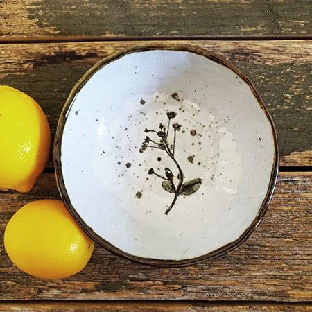 white handmade pottery small bowl