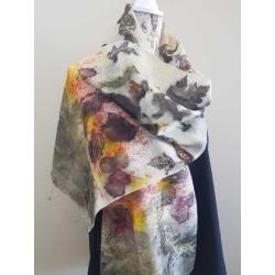 Eco printed woollen scarf