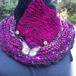 Black and hot pink handknitted wool cowl with butterfly