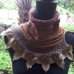 Hand knitted Autumn toned cowl with dramatic gold edging