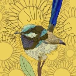 Sunflower Blue Wren Wall Print