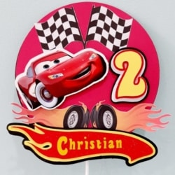 Cars, Age 2, personalised Cake toppers
