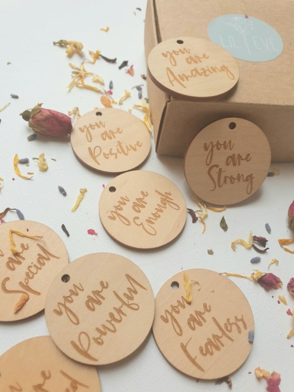 wooden affirmations, affirmations, positive affirmations, wooden keyring, wooden keychain