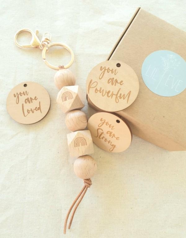 wooden keyring, wooden keychain, affirmatios