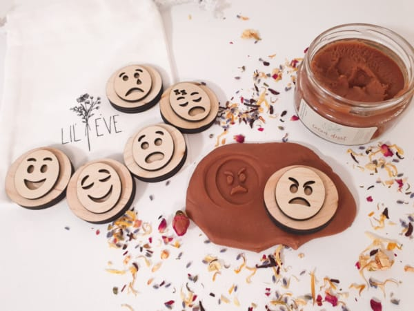 playdough stamps, emotions, wooden play stamps