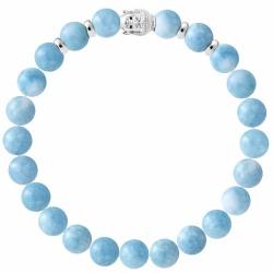 Crystal Gemstone Bracelet 8 mm with Silver Buddha Head – Handcrafted
