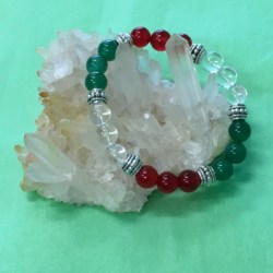 Business Support Success Crystal Gemstone Bracelet – Green Aventurine, Red Carnelian and Clear Quartz – Handcrafted