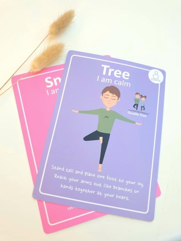 tree pose, kids yoga, yoga cards, kids yoga cards, teaching resource, mindfulness