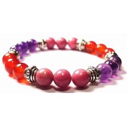 Crystal Gemstone Bracelet – Handcrafted – Natural Amethyst, Carnelian and Rhodonite 8 mm