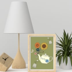 Flower Tea Wall Print