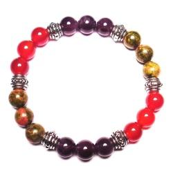 Crystal Gemstone Bracelet – Handcrafted – Natural Amethyst, Carnelian, and Unakite 8 mm