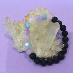 Geometric Amethyst, Aquamarine, Rose Quartz and Lava Stone Healing Aromatherapy Diffuser Bracelet – Handcrafted 18cm