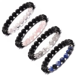 Geometric Crystal, Gemstone and Lava Stone Aromatherapy Essential Oil Diffuser Bracelets