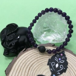 Child's Charoite and Lava Stone Aromatherapy Diffuser Bracelet – Handcrafted – Transformation, Insight and Spirituality