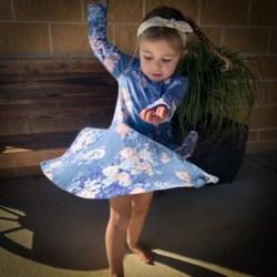 Blue Blooms Circle Skirt Dress