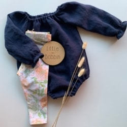 Navy Linen baby Romper