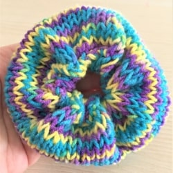 Blue, Yellow and Purple Hand Knitted Scrunchy – suits most hair types