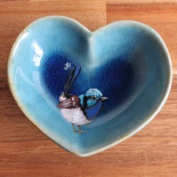 Superb Fairywren Heart Trinket Dish
