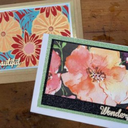 Floral handmade greeting cards, set of 2