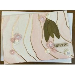 'Cherish' handmade pink and gold greeting card