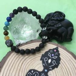 Child's 7 Chakra Hematite Buddha and Lava Stone Aromatherapy Diffuser Bracelet with Clear Crystal Quartz