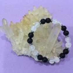 Child's Protection Crystal Gemstone Bracelet – Handcrafted – Black Tourmaline and Selenite 6mm