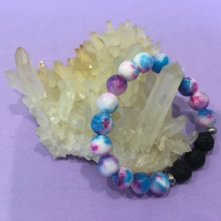 Child's Rainbow Persian Jade Gemstone and Lava Diffuser Aromatherapy Bracelet – Handcafted