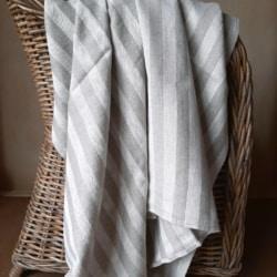 Linen Bath Sheet Huckaback Weave- Natural Striped