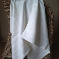 Linen Bath Sheet Huckaback Weave- White Striped