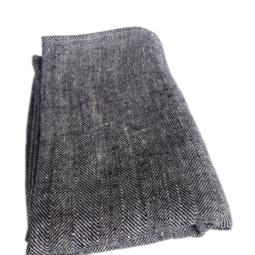 Image of a folded Huckaback linen Bath Sheet in chevron black.