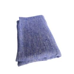 Linen Bath Sheet Huckaback Weave Chevron – Indigo-Natural